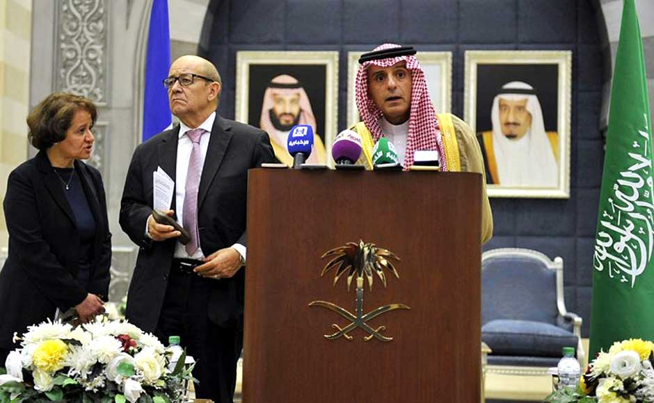 Le Drian also met his counterpart Adel Jubeir. Jubeir said Saudi Arabia would present France with