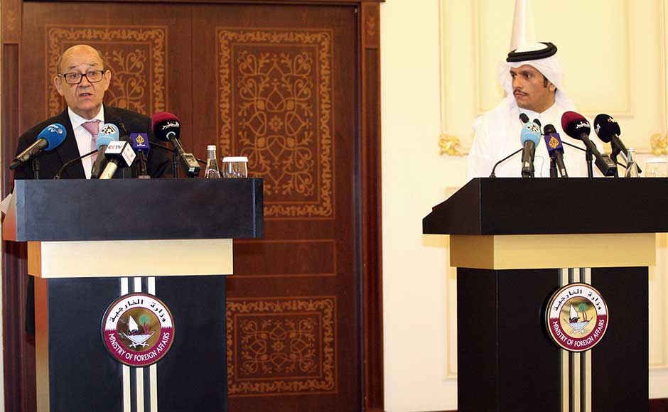 """""""France should be a facilitator in the mediation"""" led by Kuwait, Le Drian told reporters after talks with his Qatari counterpart Sheikh Mohammed bin Abdulrahman Al-Thani. AP"""