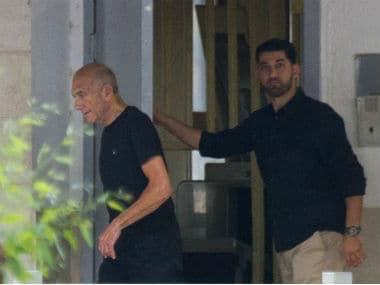 Ex-Israeli prime minister Ehud Olmert seen coming out of jail. AP