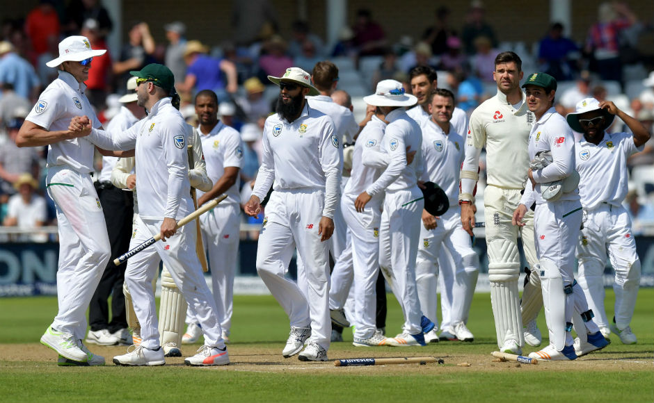 South Africa thrashed England by 340 runs in the second Test of the series at Trent Bridge to square the four-match series at 1-1. In pic: South African players celebrate taking the wicket of England's James Anderson that helped them wrap the game up in the fourth day itself. AFP