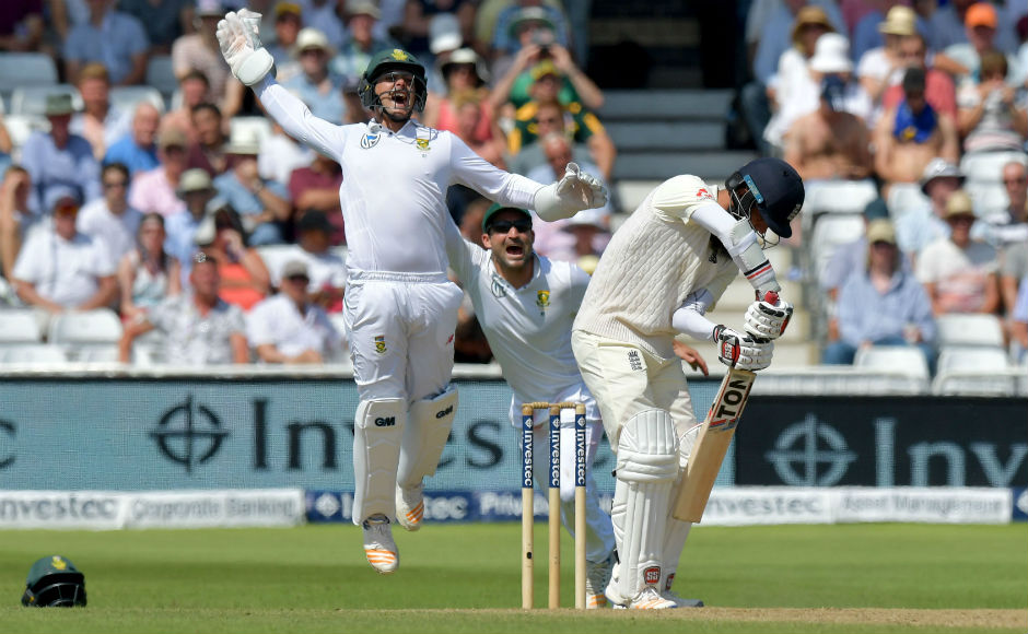 South Africa's Quinton de Kock (L) appeals for the wicket of England's Moeen Ali. Ali, ordinarily a dependable batsman for England in the middle order, did not have a great time at Trent Bridge, and was one of Maharaj's three victims in the 2nd innings. AFP