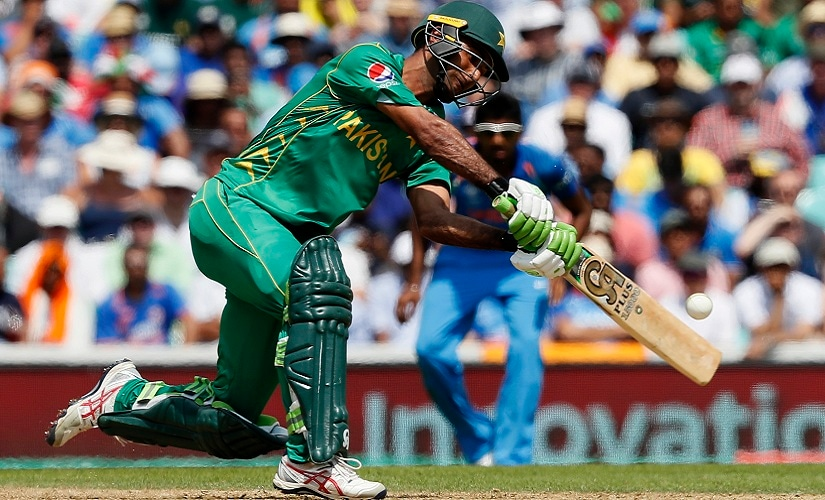 Pakistan batsman Fakhar Zaman hits the ball to the boundary during the ICC Champions Trophy final between Pakistan and India. AP
