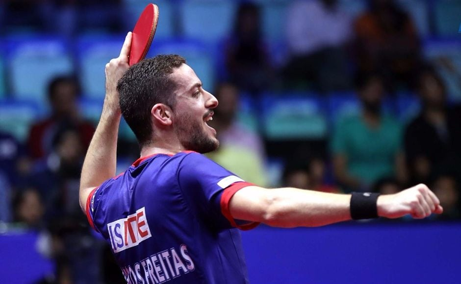 The resurgence of Maharashtra United was brought to a halt by Dabang Smashers TTC's Marcos Freitas who won two matches to deny United any chance of winning the tie. Image courtesy: www.ultimatetabletennis.in