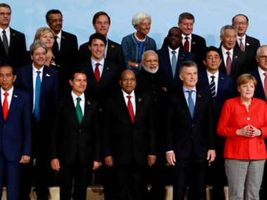 The Group of 20 global leaders at the two-day summit in Hamburg. Reuters