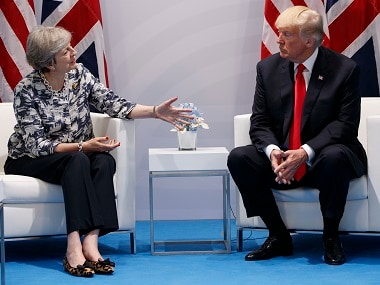 Donald Trump meets Theresa May at the G20 Summit. AP