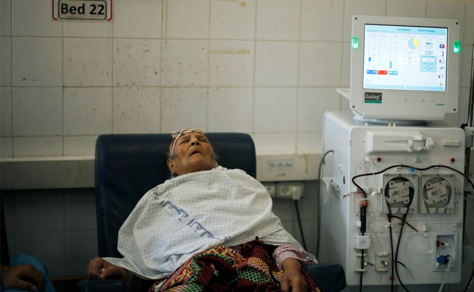 A patient undergoes dialysis at Shifa hospital in Gaza City. Gaza has been under an Israeli blockade since 2007 after Hamas forces seized control of the territory following a brief civil war with security forces loyal to Mahmoud Abbas, the Western-backed Palestinian president based in the West Bank. Reuters