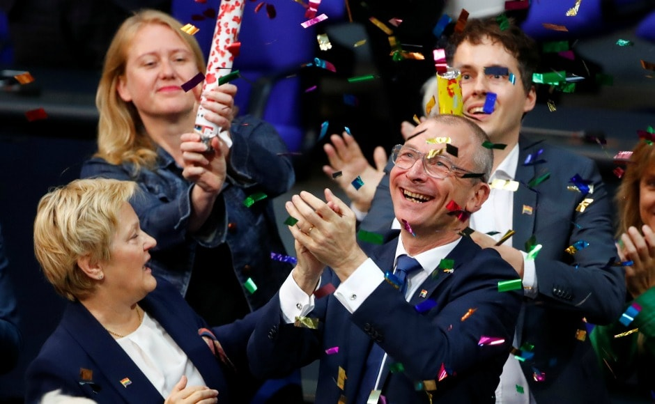 The move brings Germany in line with other European nations like France, Britain, and Spain. Volker Beck celebrates after a session of the Lower House of Parliament, the Bundestag, voted on legalising same-sex marriage. Reuters