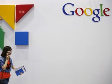A woman walks past a logo of Google at the Global Mobile Internet Conference (GMIC) 2015 in Beijing, China, April 28, 2015. REUTERS/Kim Kyung-Hoon  - RTX1ALF0
