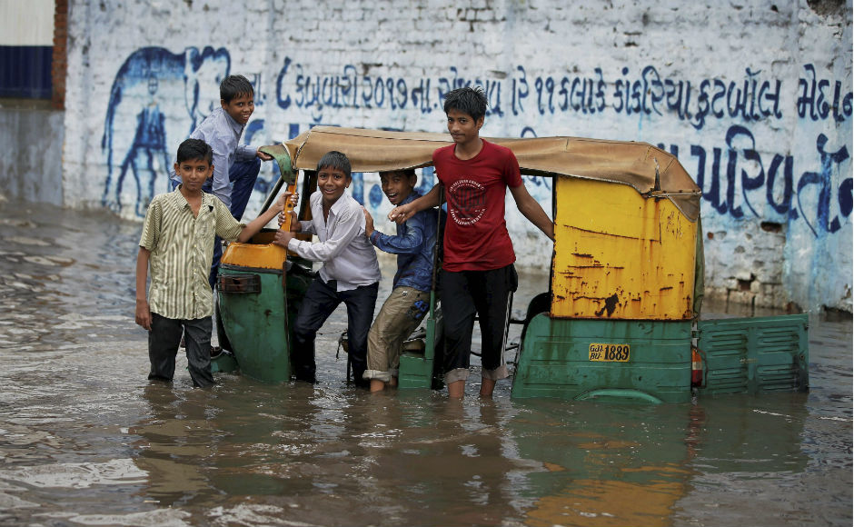 Heavy rains since Friday night created a flood-like situation in several parts of Gujarat on Saturday, leaving three persons dead, the state government said. PTI