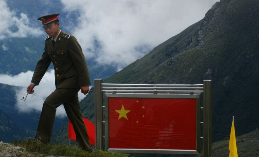 A file image of a Chinese soldier at the border in Nathu La pass in Sikkim. Getty images