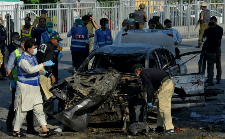 """Police and Lahore Development Authority officials were busy in removing encroachments outside the Arfa Karim Tower, located near the chief minister's Model Town residence when a powerful blast took place,"" a rescue worker said. AFP."