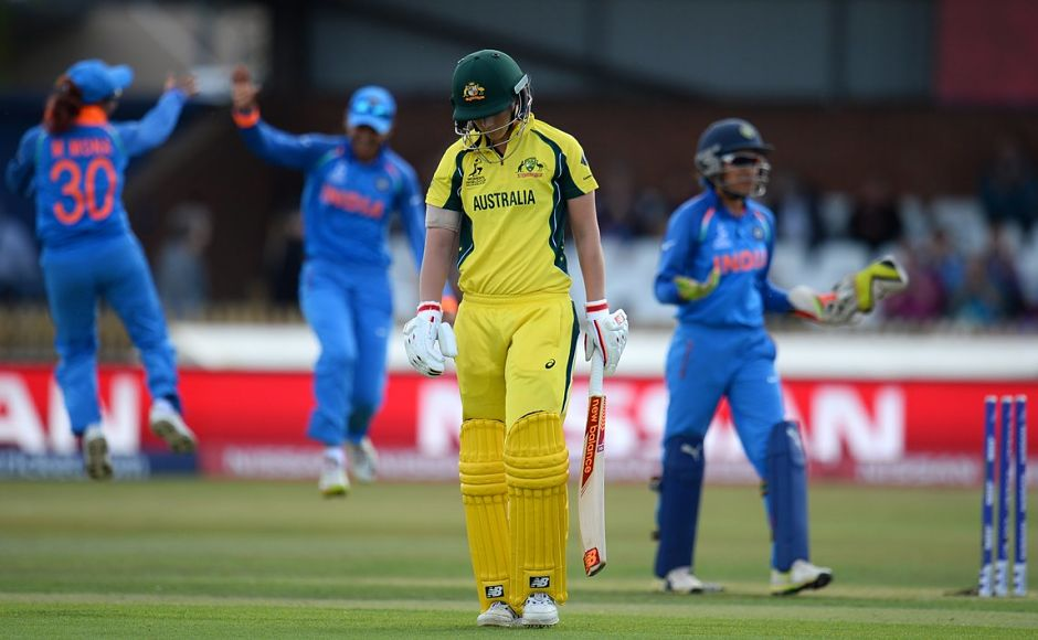 The Australian batting got off to a disastrous start. They were tottering at 21-3. In-form batswoman and captain Meg Lanning was castled by India's Jhulan Goswami for a duck. Twitter/@icc