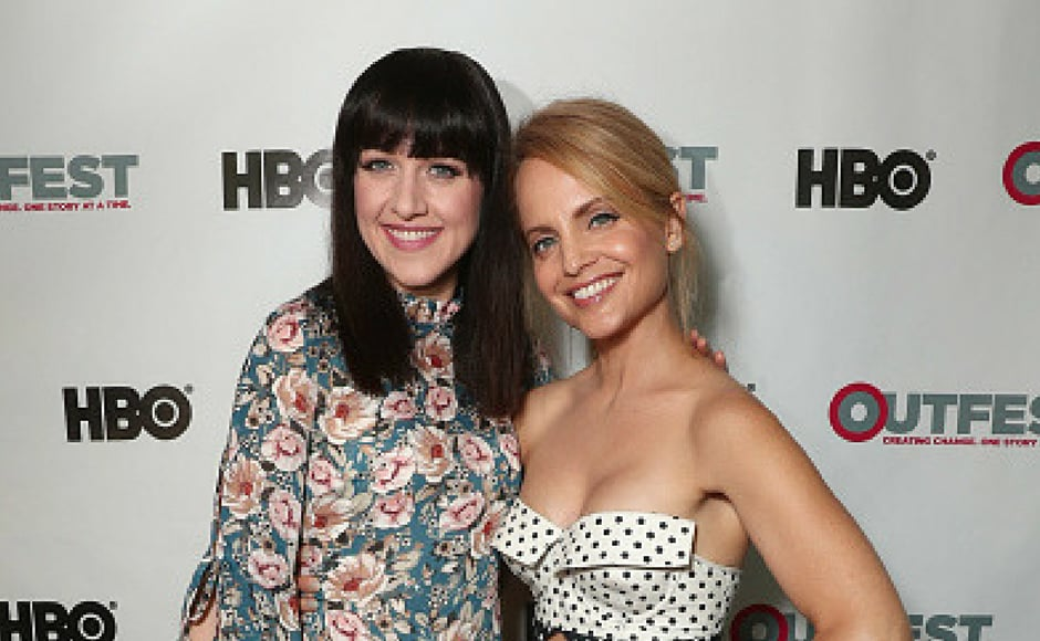 Lena Hall (L) and Mena Suvari attend the 2017 Outfest Los Angeles LGBT Film Festival centerpiece screening of 'Becks' at the DGA Theater in Los Angeles, California. (Getty Images)
