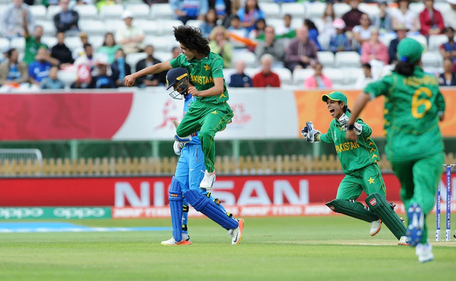 Pakistan's Diana Baig jumps in the air to celebrate the dismissal of the in-form Smriti Mandhana. AP