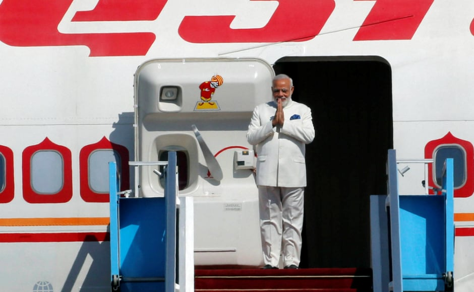 Prime Minister Narendra Modi steps off the aircraft as he arrives for a visit in Israel at Ben Gurion Airport, near Tel Aviv, Israel. Reuters