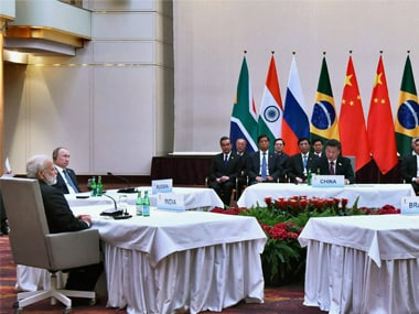Prime Minister Narendra Modi, Russian President Vladimir Putin, Chinese President Xi Jinping and other leaders at the informal meeting of leaders of the BRICS countries, on the sidelines of the 12th G-20 Summit in Hamburg, Germany on Friday. PTI