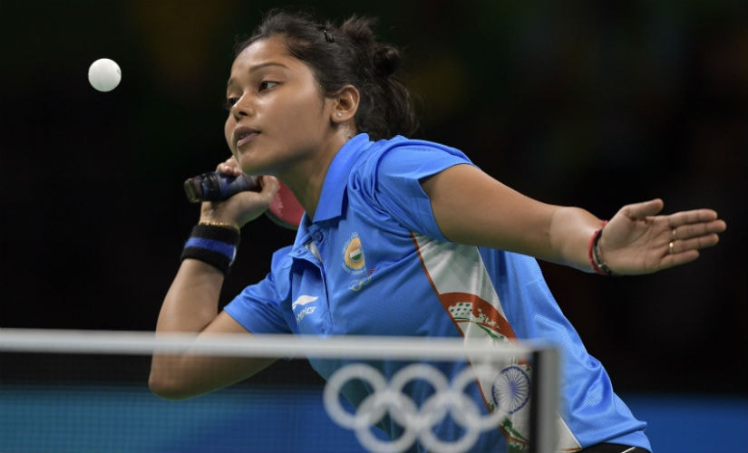 Mouma Das hits a shot in her women's singles qualification round table tennis match at the Riocentro venue during the Rio 2016 Olympics. AFP