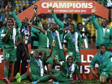 Nigeria's players celebrate with the FIFA U-17 World Cup in 2015. AFP