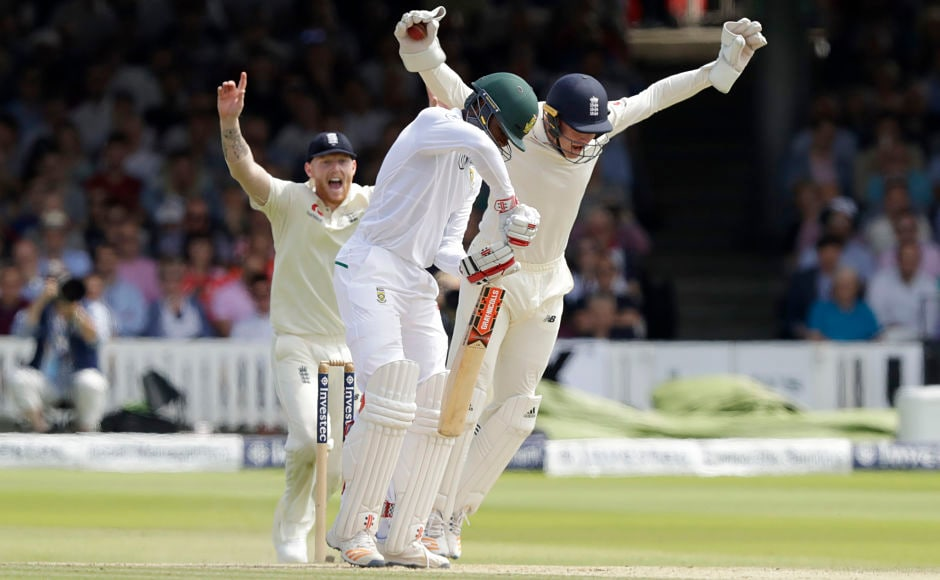 The day began with South Africa losing both its overnight batsmen in quick succession. South Africa's Kagiso Rabada caught behind by Johnny Bairstow off Liam Dawson. AP