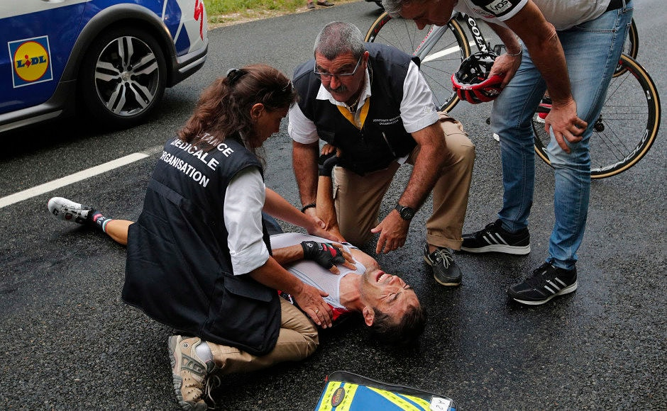Meanwhile in another mishap, Italy's Manuele Mori is seen to be getting medical assistance after crashing during the ninth stage of the Tour de France Just like Gesink, Mori too was forced to abandon the race. AP