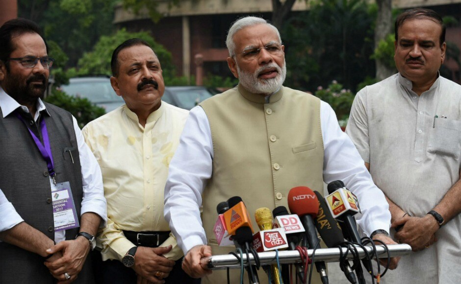 "Earlier in the day, addressing the media, Modi urged all parties to work in the interest of the nation. He expressed hope that all the parliamentarians would engage in quality debate during the over three-week long Monsoon Session in the interest of the nation.""This Monsoon Session is very important in many ways as the country will elect its new President,"" Modi said after arriving at Parliament to cast his vote in the presidential poll. PTI"