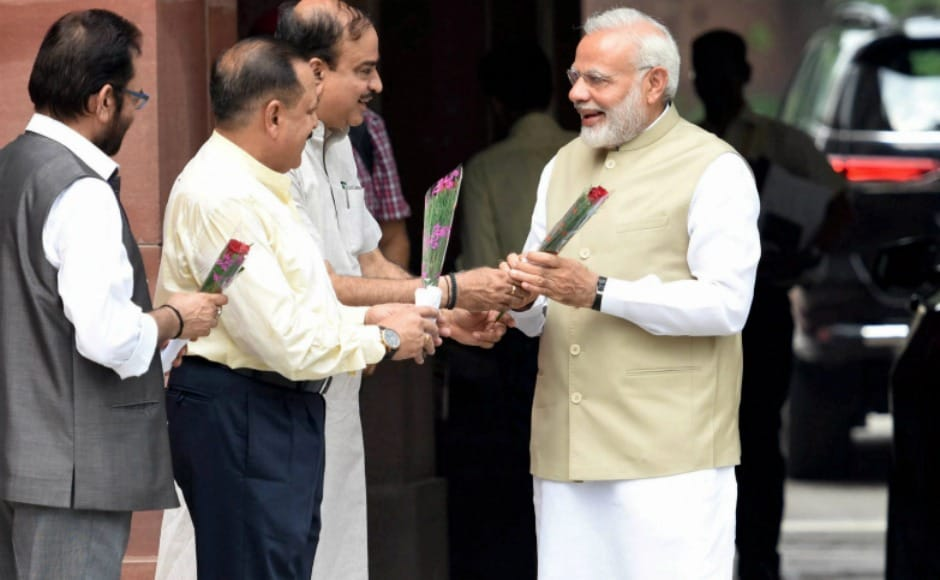 Prime Minister Narendra Modi was welcomed by Parliamentary Affairs Minister Ananth Kumar, Minister of State for Parliamentary Affairs Mukhtar Abbas Naqvi and Minister of State in Prime Minister's Office Jitendra Singh before the start of the Session. Modi then walked up to the Opposition benches and greeted leaders who were seated in the front row. PTI