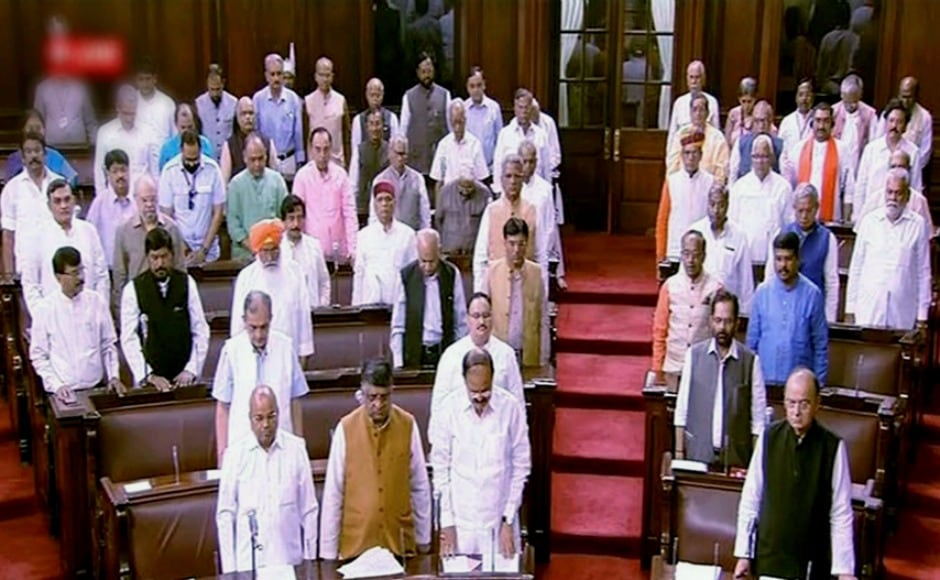 Members pay tribute to the departed sitting members in the Rajya Sabha in New Delhi on the opening day of the Monsoon Session. PTI