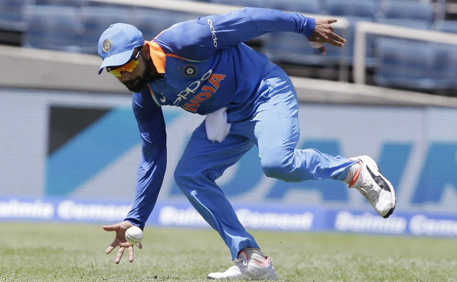 Indian captain Virat Kohli fields during the 5th ODI of the series against Windies at Sabina Park in Kingston. AP