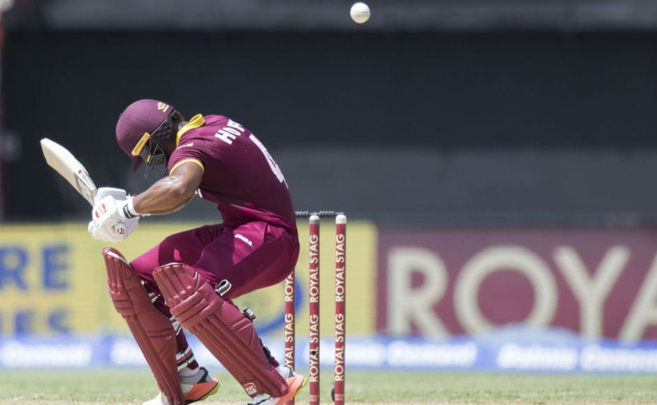 Windies' Shai Hope ducks the ball during the 5th ODI against India at Sabina Park in Kingston, Jamaica. AFP
