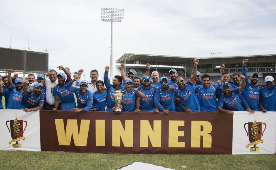 India celebrate their victory and winning of the series after finishing the 5th ODI against Windies at Sabina Park in Kingston, Jamaica. AFP