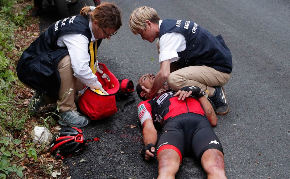 In one of the worst accidents of the day, Australia's Richie Porte crashed in the descent of the Mont du Chat pass during the ninth stage of the Tour de France. AP