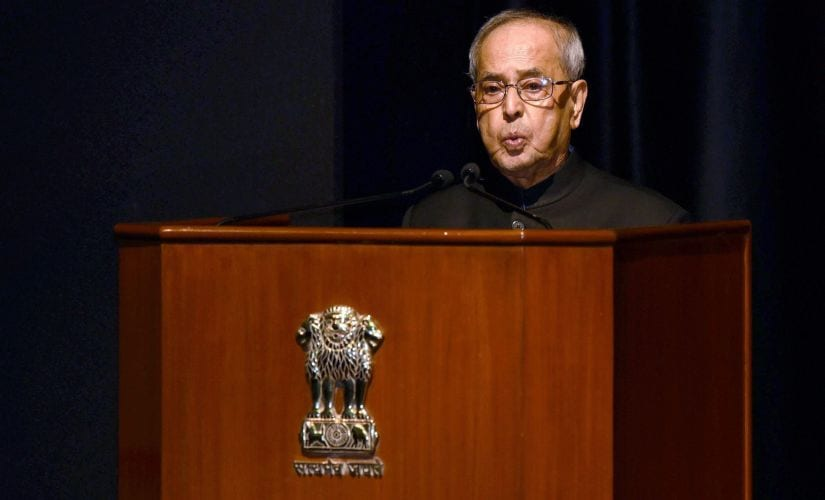 President Pranab Mukherjee at an event in Rashtrapati Bhavan on Monday. PTI