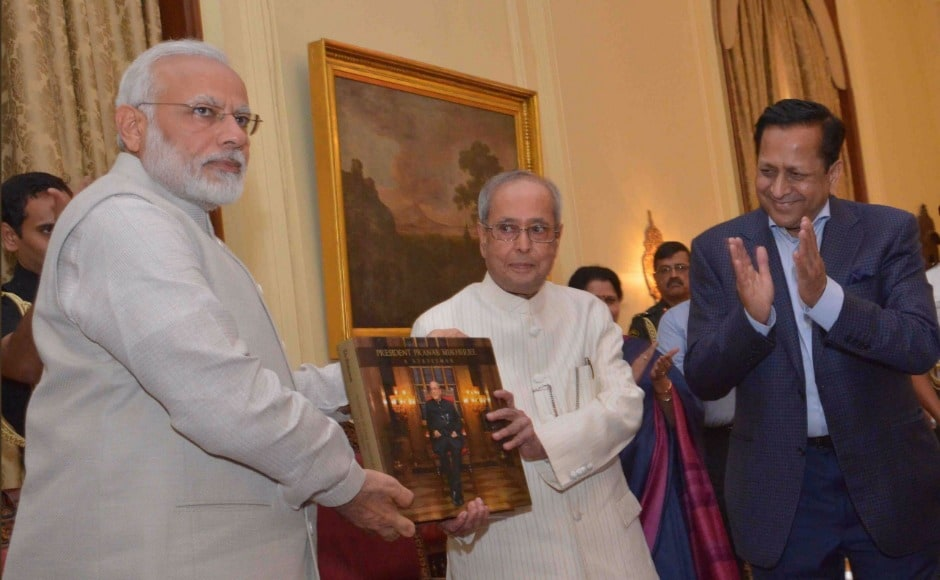 """About Modi, Mukherjee said, """"There has been divergence of views but we acted in close cooperation. It did not affect the relationship between the president and the prime minister, between the titular head and the actual head of the administration."""" Twitter @RashtrapatiBhvn"""