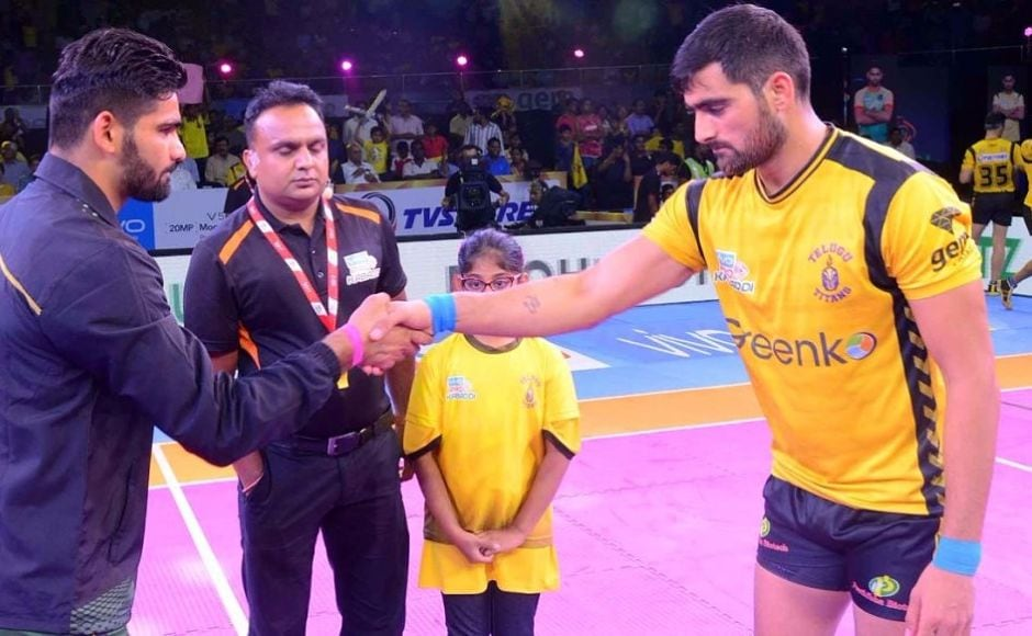 In the second match, double defending champions Patna Pirates took on the home team Telugu Titans. Image Courtesy: www.prokabaddi.com