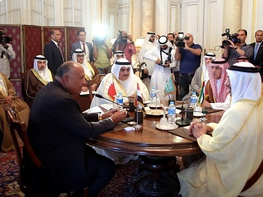 Representatives from Arab countries meet to discuss the gulf diplomatic situation. Reuters