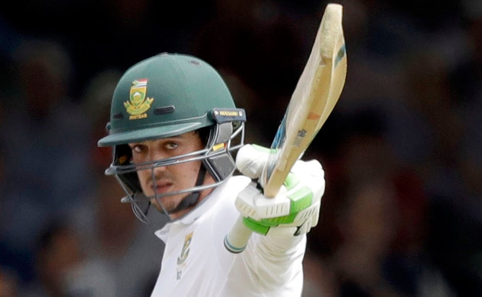 South Africa wicketkeeper Quinton de Kock celebrates reaching 50 runs off just 31 deliveries to notch up the second fastest half-century at Lord's. AP