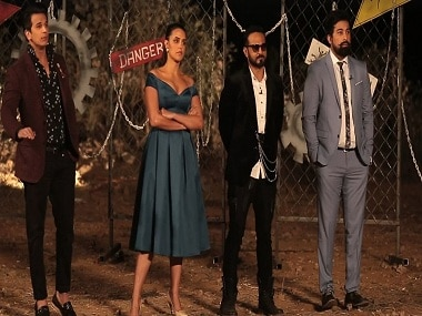 Prince Nerula, Neha Dhupia, Nikhil Chinappa and Rannvijay Singha in a still from MTV Roadies Rising. YouTube