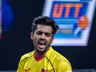 India's Sanil Shetty in action for the Falcons against Mavericks in UTT. Twitter/ @ulttabletennis