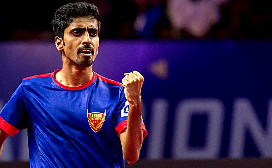 In the day's opening match, G Sathiyan continued his exemplary form by beating World No 8 Wong Chun Ting from Hongkong to put Dabang Smashers TTC in the lead. Image courtesy: www.ultimatetabletennis.in