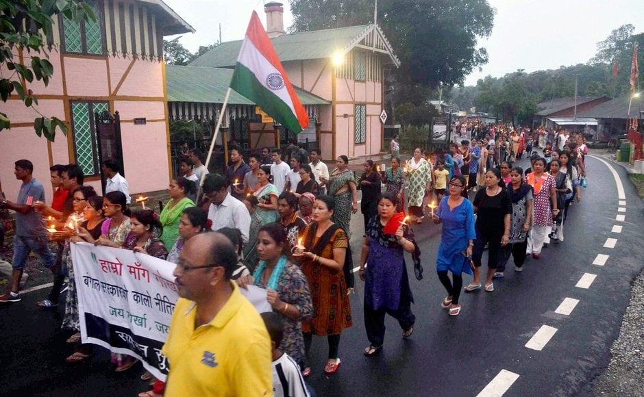 The Gorkhaland agitation and the indefinite bandh entered its 26th day on Monday. Gorkha Janmukti Morcha supporters took out a mass rally to demand for separate state during a protest in Sukna near Siliguri on Sunday. PTI