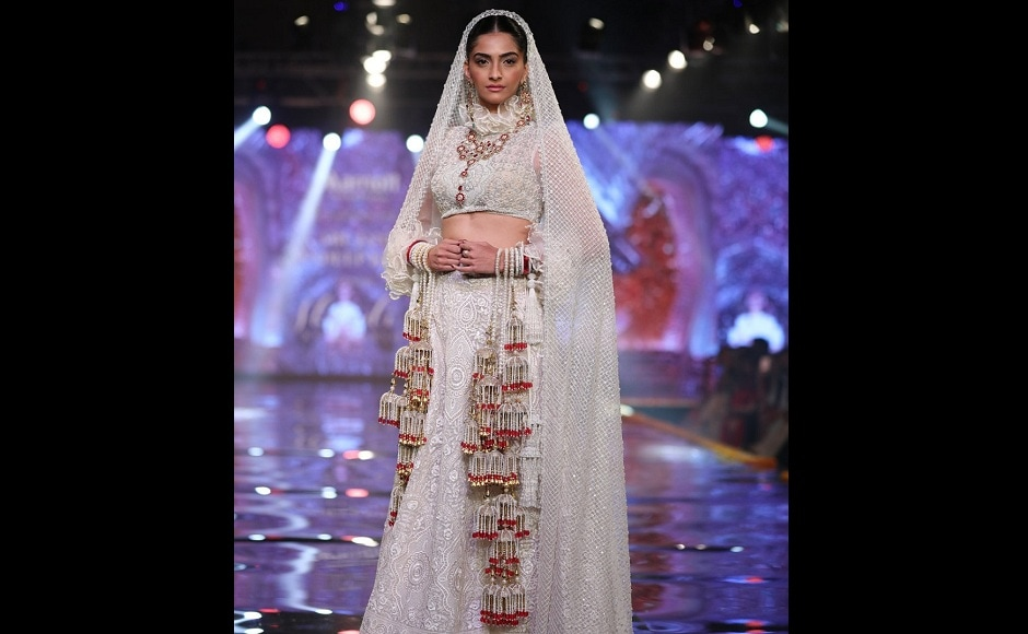 Sonam Kapoor stunned as the showstopper. The actor was dressed in a gleaming white lehenga.