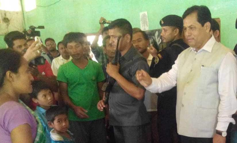 Assam chief minister Sarbananda Sonowal at a relief camp in Majuli on 12 July. Image courtesy chief minister's Twitter handle