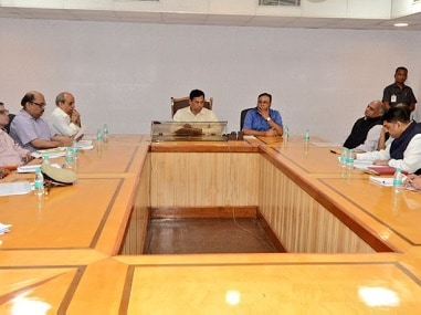 Sarbananda Sonowal in the review meeting. Twitter/@sarbanandsonwal