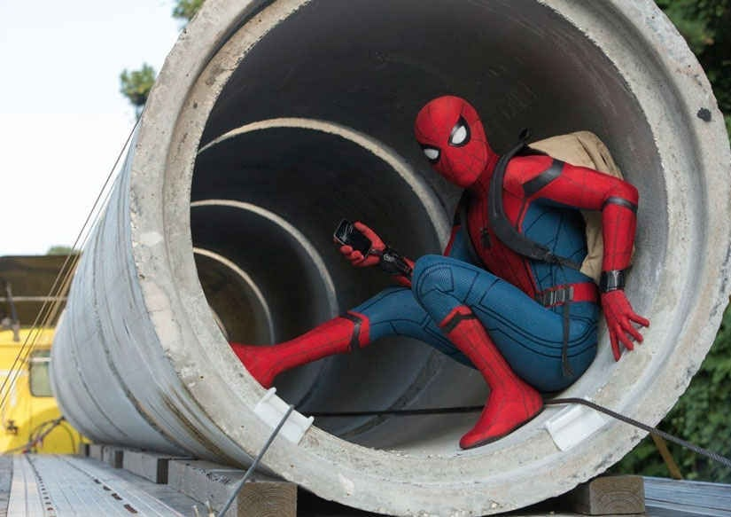 Tom Holland in another action-packed scene from Spider-man: Homecoming. Image from AP.