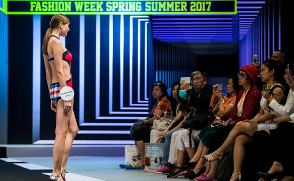 Designer Square Root P brought a range of swimwear to the Hong Kong Fashion show, showcasing quirky designs and loud colours.