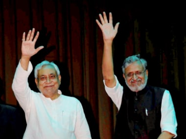 Nitish Kumar and Sushil Kumar Modi on Thursday during the swearing-in ceremony. PTI