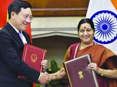External Affairs Minister Sushma Swaraj shakes hand with Vietnam's Deputy Prime Minister and Minister of Foreign Affairs Pham Binh Minh in New Delhi. PTI