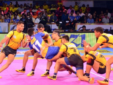 Telugu Titans in action in their opening match against the Tamil Thalaivas. Image courtesy: Twitter/@prokabaddi