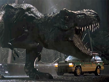 The T Rex in Jurassic Park. Image: Universal Pictures