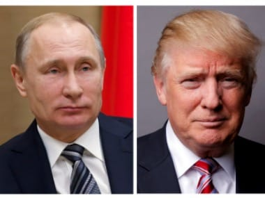 US president Donald Trump and Russian counterpart Vladimir Putin. Reuters